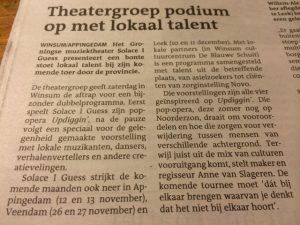 Artikel Updiggin dagblad van het Noorden   De Blauwe Schuit Winsum